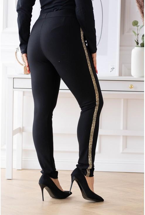 eleganckie spodnie dresowe z błyszczącym lampasem