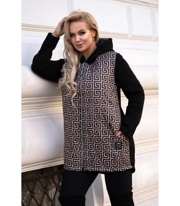 Czarna bluzo-kurtka z łączonych materiałów w karmelowy wzór - KATY