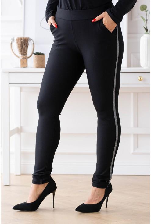Czarne eleganckie spodnie z lampasem