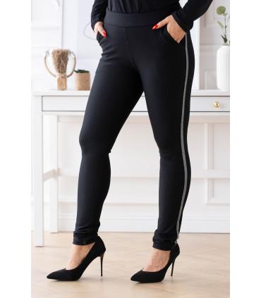 Czarne eleganckie spodnie dresowe ze srebrnym lampasem - Aurora