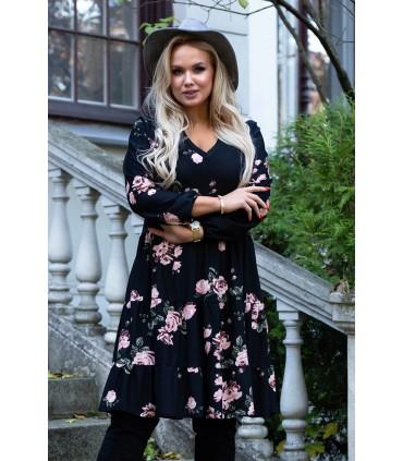 Czarna sukienka z falbanami w róże - ZOLI