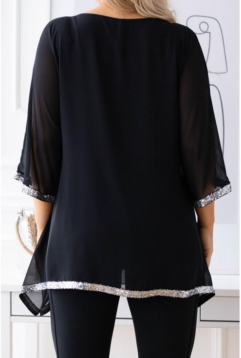 Czarna szyfonowa bluzka Freya