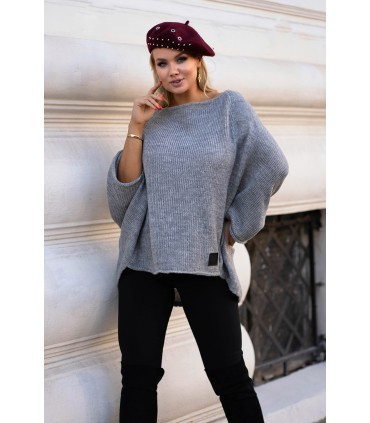 Szary ciepły sweterek obniżoną linią ramion - Carina