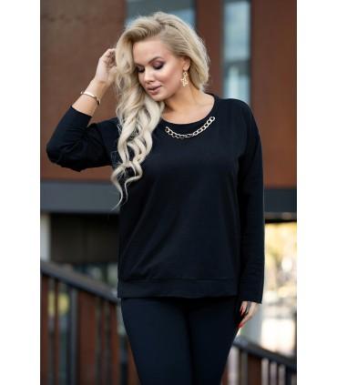 Czarna bluza z łańcuchem na przodzie - DIANNE