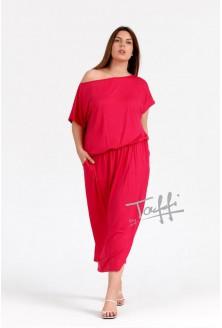 Czerwona gładka sukienka 7/8 z kieszeniami - GRAND