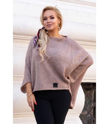 Latte ciepły sweterek z obniżoną linią ramion - Carina