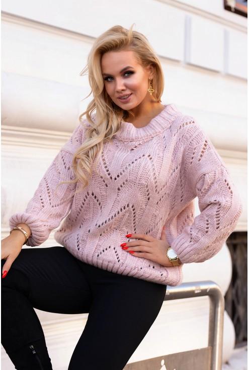 pudrowy sweter ażurowy