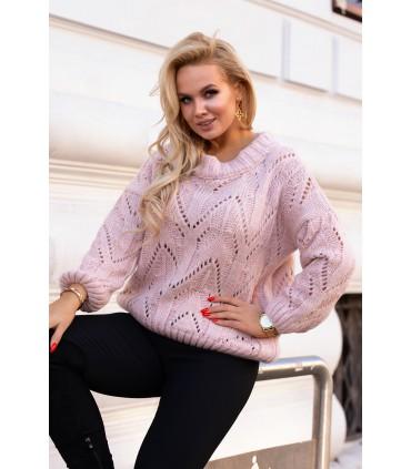Pudrowy ażurowy sweter - MALISA