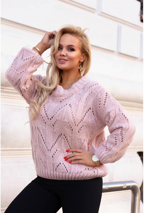 Pudrowy ciepły sweter Malisa