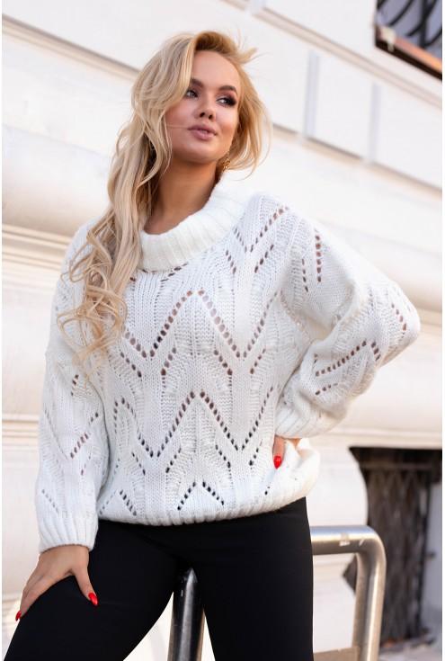 biały ażurowy sweter xxl