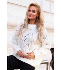 Kremowo/biały ażurowy sweter - MALISA