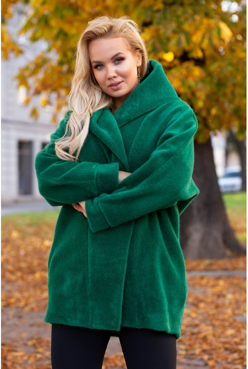 Ciepły zielony płaszcz xxl