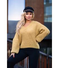 Musztardowy sweter z grubym splotem - EMILLA
