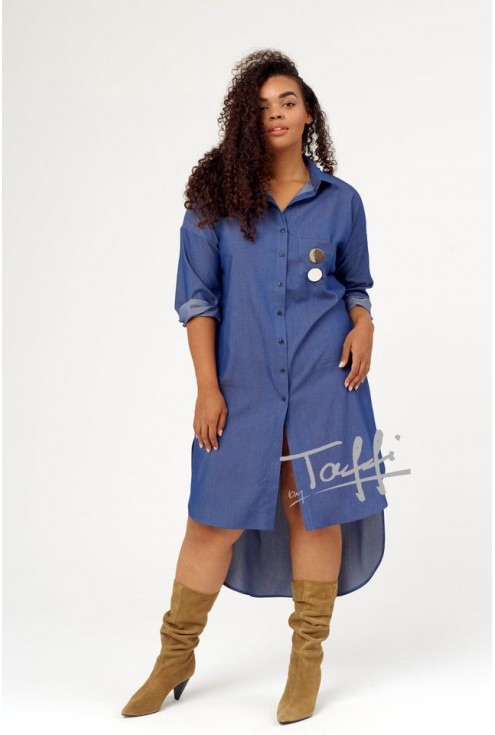 Sukienka koszulowa w kolorze jeansowym