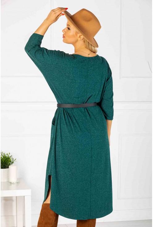 Długa butelkowa sukienka (ciepły materiał) - CELIN
