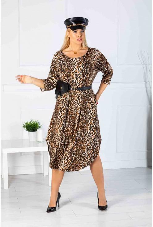 długa sukienka wzór w panterkę xxl