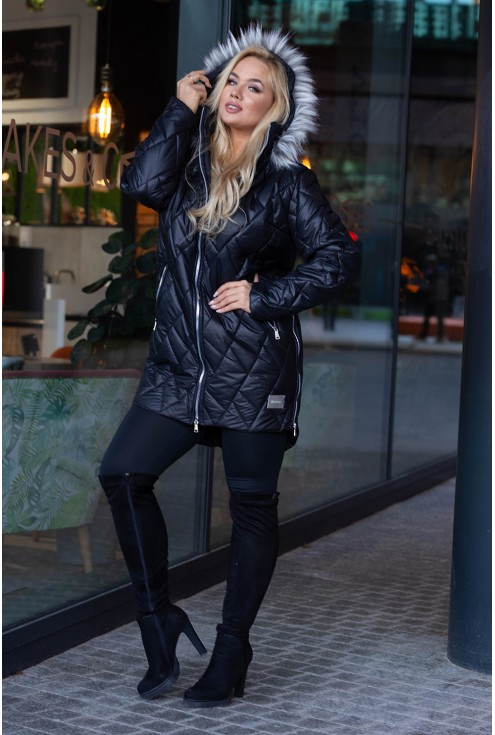 Czarna pikowana kurtka xxl