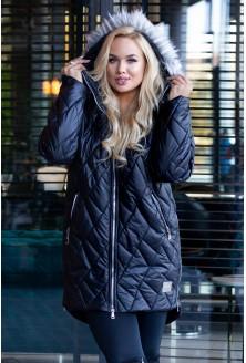 Czarna pikowana kurtka z suwakami po bokach - RUBY