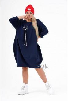 Granatowa sukienka oversize z ozdobną wstążką - AJANA