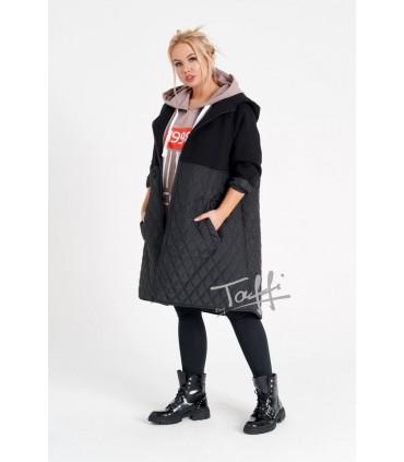 Czarna bluzo-kurtka z łączonych materiałów - ORTI