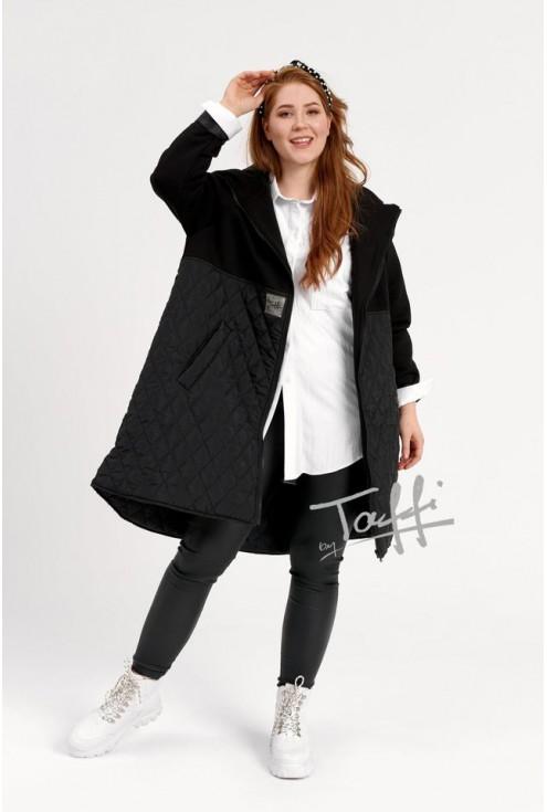 Czarna bluzo-kurtka z łączonych materiałów