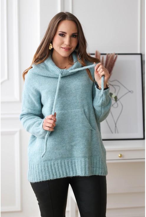 turkusowy sweter kangurek xxl