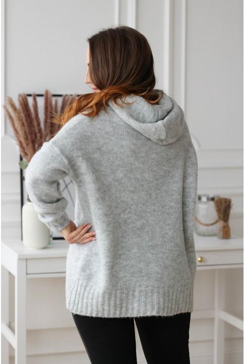 tył szarego sweterka plus size xxl