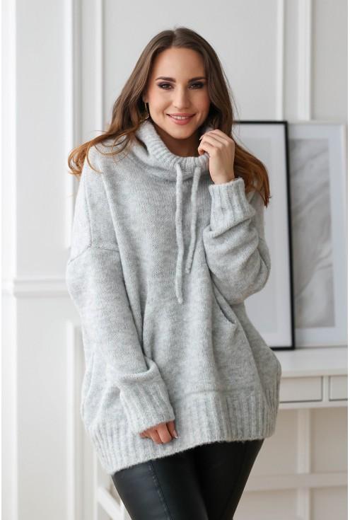 jasnoszary sweterek plus size xxl
