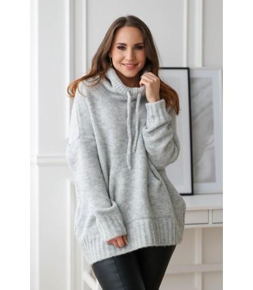 Jasnoszary (melanż) sweterek kangurek z kapturem - BIANCA