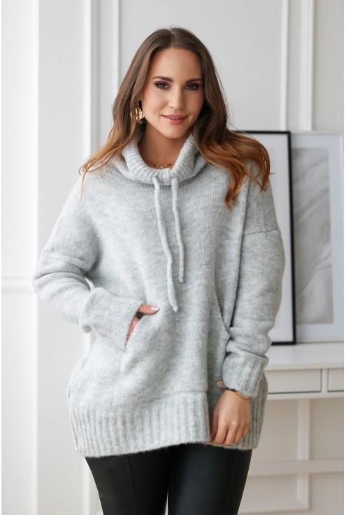 jasnoszary sweter plus size xxl