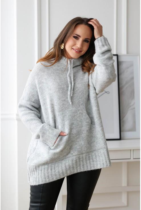 jasnoszary sweter size plus