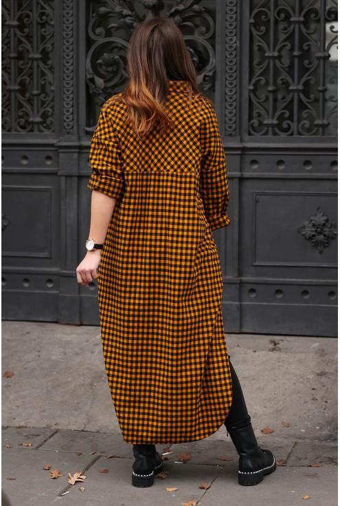 Sukienka koszulowa w miodowo- czarną kratę - REVLO