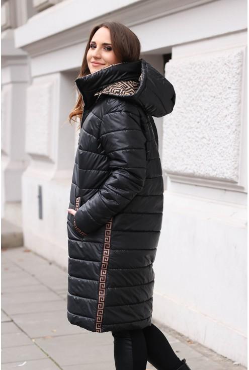 zimowa kurtka z kapturem i wzorem karmel xxl