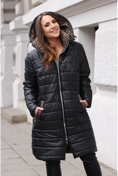 Ciepły, zimowy czarny płaszcz plus size z karmelowym wzorem - SELENA