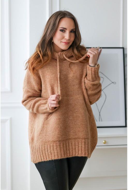 karmelowy sweter kangur plus size xxl