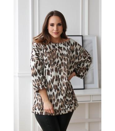 Beżowa bluzka/tunika z wzorem w panterkę - OLENA