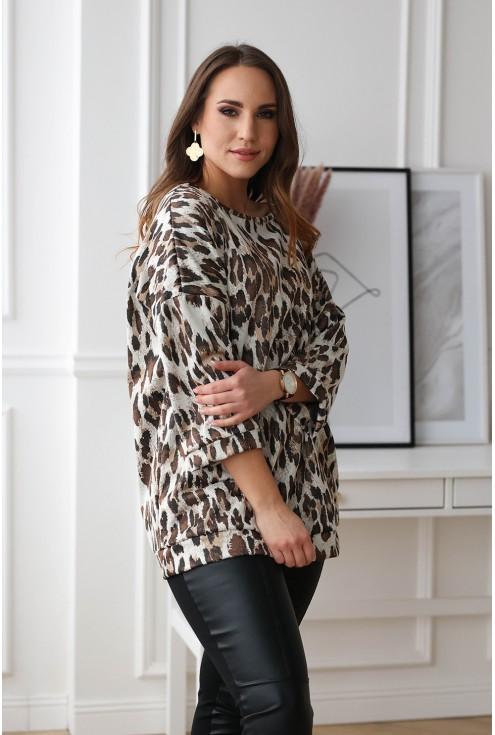Beżowa bluzka/tunika z wzorem