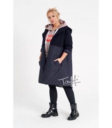 Granatowa bluzo-kurtka z łączonych materiałów - ORTI