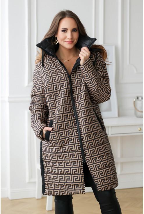 Ciepły, zimowy karmelowy płaszcz z wzorem - SELENA