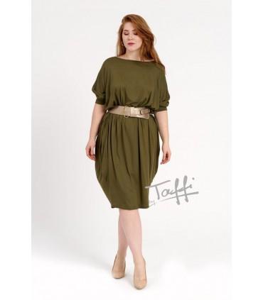 Sukienka oversize z rękawem 3/4  khaki - WIJA