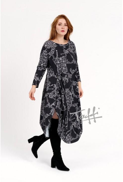 Długa sukienka JAJKO angora - czarne tło mix z szarym