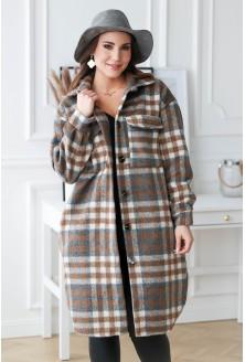płaszcz w kratę plus size