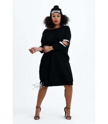 Czarna sukienka z rozcięciem na rękawach - CALINE