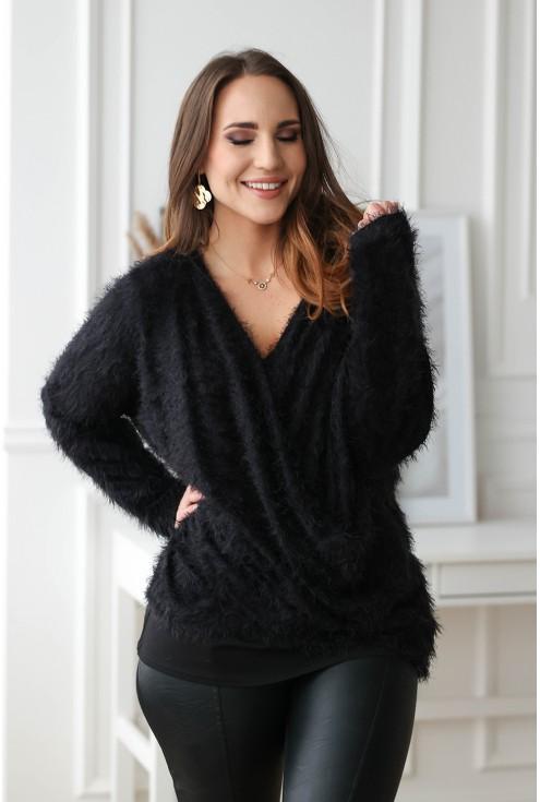 czarny sweterek miły w dotyku plus size