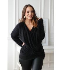 Czarny sweter z kopertowym dekoltem - OTILIA