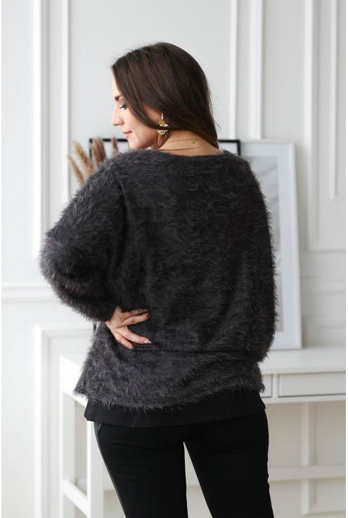 grafitowy miły sweter xxl - tył
