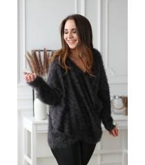 Grafitowy sweter z kopertowym dekoltem - OTILIA