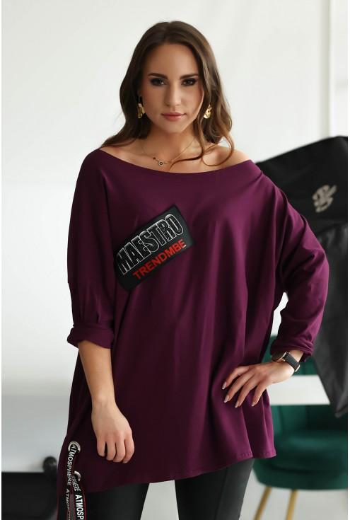 Fioletowa bluzka z naszywką i wiązaniem