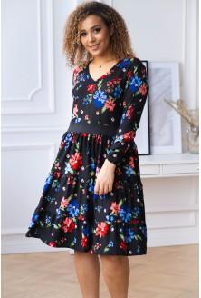 czarna sukienka xxl w kolorowe kwiaty