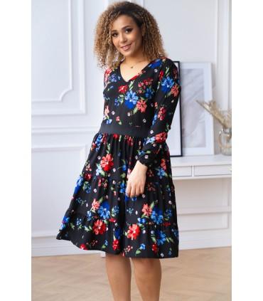 Czarna sukienka z falbanami w kolorowe kwiaty - ZOLI